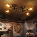 Industrial Cross Plumbing Semi Flush Mount Ceiling Light in Rust Finsh, 4 Lights 33.4'' Width
