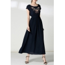 Fashion Floral Embroidered Boat Neck Short Sleeve Maxi A-Line Dress