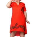Chic Floral Embroidered V Neck Short Sleeve Oversize Midi Swing Dress