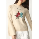 Basic Simple Floral Letter Embroidered Round Neck Long Sleeve Pullover Sweater