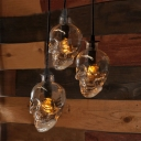 Industrial Hanging Pendant Light Skull, Glass Shade