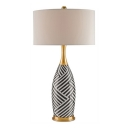 Bottle Base Table Lamp Interweaving Black And White Stripes
