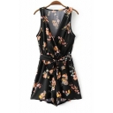 Chic Floral Printed Plunge Neck Sleeveless Tie Waist Casual Leisure Rompers
