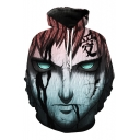 New Stylish 3D Comic Angry Man Printed Long Sleeve Casual Hoodie with Pockets