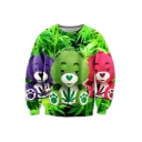 3D Bears Toy Printed Round Neck Long Sleeve Loose Pullover Sweatshirt