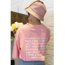 Summer's BF Style Letter Printed Back Round Neck Loose Half Sleeve T-Shirt