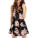 Round Neck Sleeveless Retro Floral Pattern Mini Swing Dress