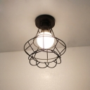 Industrial Flushmount Ceiling Light with Flower Basket Shade Metal Cage