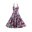 Stylish Retro Halter Neck Sleeveless Chic Floral Pattern Midi Flared Dress