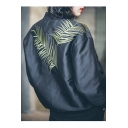 Retro Leaves Embroidered Back Long Sleeve Zip Up Baseball Jacket with Pockets