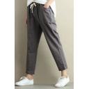 New Fashion Elastic Drawstring Waist Classic Plaids Printed Loose Pants