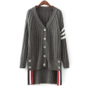 New Arrival Fashion High Low Hem Long Sleeve Striped Print Buttons Down Cardigan