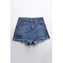 Summer's Fashion Fringe Hem Plain Split Side High Rise Denim Shorts
