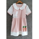 Summer's Cartoon Printed Color Block Peter-Pan Collar Short Sleeve Mini Smock Dress