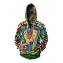 Hot Sale 3D Monkey Pattern Unisex Long Sleeve Zip Up Hoodie