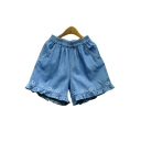 Chic Sweetheart Embroidered Elastic Waist Loose Denim Shorts