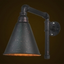 Industrial Wall Sconce in Black Finish wth Cone Shade, Downlighting
