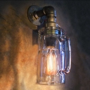 Industrial Beer Mug Wall Sconce in Water Pipe Style Silver Finish