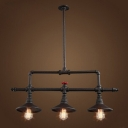 Industrial Valve Island Light in Black Finish with Cone Shade, 3 Lights