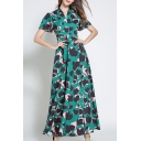 Retro Color Block Leopard Printed V Neck Short Sleeve Maxi A-Line Dress