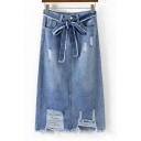 New Trendy Bow Waist Fashion Ripped Split Back Midi A-Line Denim Skirt