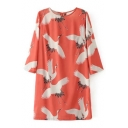 Summer's Round Neck Long Sleeve Crane Pattern Mini Shift Dress