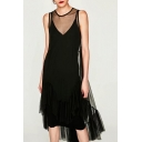 New Trendy Fashion Sheer Gauze Round Neck Sleeveless Ruffle Hem High Low Plain Dress