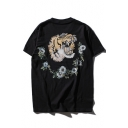 Funny Tiger Floral Pattern Casual Loose Round Neck Short Sleeve T-Shirt