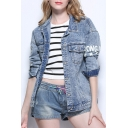 New Arrival Simple Letter Pattern Lapel Collar Long Sleeve Buttons Down Denim Jacket