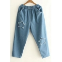 Fashion Ripped Pentacle Pattern Elastic Waist Plain Jeans