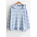 New Stylish High Low Hem Striped Color Block Long Sleeve Sweater Hoodie