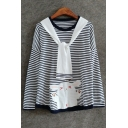 Cartoon Patched Striped Printed Round Neck Long Sleeve T-Shirt with Tie Collar
