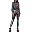 New Stylish Skeleton Floral Printed Round Neck Long Sleeve Slim Jumpsuits