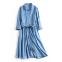Chic Letter Floral Embroidered Back 3/4 Sleeve Lapel Collar Midi Denim Shirt Dress