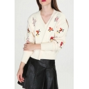 V Neck Long Sleeve Chic Floral Embroidered Pullover Sweater