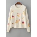 Fall Winter Embroidery Floral Pattern Long Sleeve Round Neck Pullover Sweater