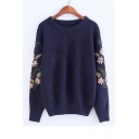 Embroidery Floral Long Sleeve Round Neck Pullover Sweater