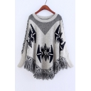 Women's Color Block Pattern Long Sleeve Tassel Cape Sweater