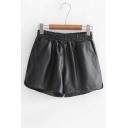 High Rise Elastic Waist Simple Plain Wide Legs Loose PU Shorts