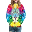 Geometric Lion Color Block Printed Long Sleeve Hoodie