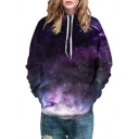 Fashion Galaxy Cloud Printed Long Sleeve Color Block Hoodie
