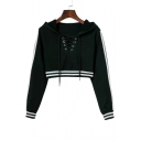 Women's Striped Trim Lace-Up Front Long Sleeve Cropped Hoodie