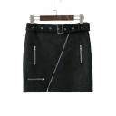 New Fashion Belt Waist Oblique Zipper Placket Mini Plain Skirt