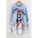 Fashion Cartoon Rocket Pattern Round Neck Long Sleeve Tunic Sweater