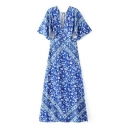Chic Cutout Waist Half Sleeve V-Neck Floral Printed Maxi Dress