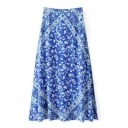 Chic Floral Printed Color Block Zip Side Maxi Skirt