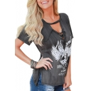 Round Neck Short Sleeve Sexy Hollow Lace-Up Fashion Printed Loose T-Shirt