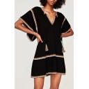 Fashion Color Block V Neck Short Sleeve Mini Loose A-Line Dress