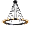 Industrial Wrought Iron Multi Chandelier Industrial 18 Lights Halo Pendant Light in Black