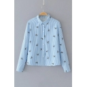 Birds Striped Pattern Casual Loose Long Sleeve Buttons Down Shirt